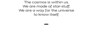 The cosmos is within us. We are made of star-stuff. We are a way for the universe to know itself. -